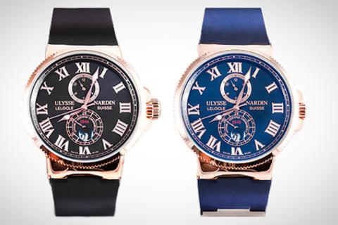 Качественные копии часов Ulysse Nardine Maxi Marine черного или синего цвета с гарантией 1 год от интернет-магазина Nardin54. Скидка до 57%