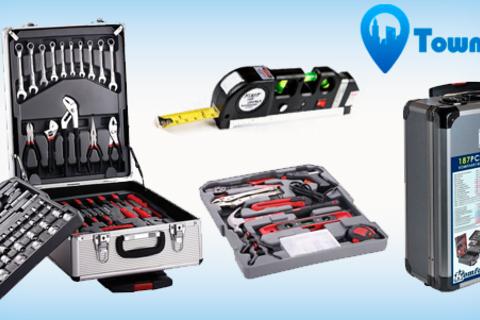 Товары для настоящих мужчин! Набор инструментов KomfortMax из 187 предметов в алюминиевом кейсе, а также лазерный уровень с рулеткой от интернет-магазина Town-Sales. Скидка до 73%