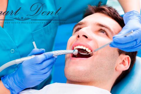 Лечение зубов и установка 1, 2, 3 пломб, удаление зубов или установка 1, 3, 5 металлокерамических коронок в клинике VIP-класса Smart Dent. Скидка до 90%
